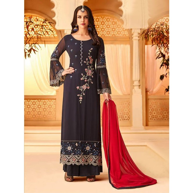 7a041d7cf6 Purple Colored Heavy Embroidered Original Georgette Salwar Suit Material