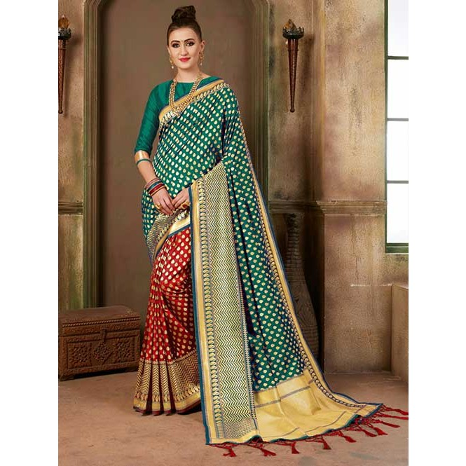 eac989b4e51c4 ... colored Beautiful Banarasi Silk Saree. Red and Green