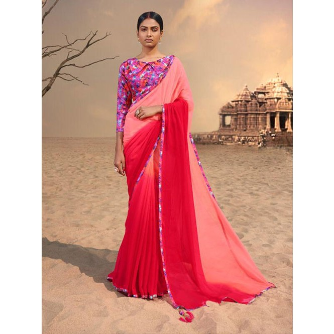 1a57aafba6559d Red Colored Beautiful Chiffon Shaded Color Saree With Printed Saree