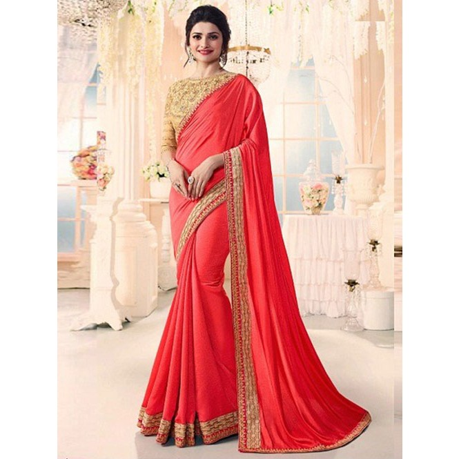 17252dea8caac1 Red Colored Beautiful Embroidered Georgette Saree Display Gallery Item 1 ...