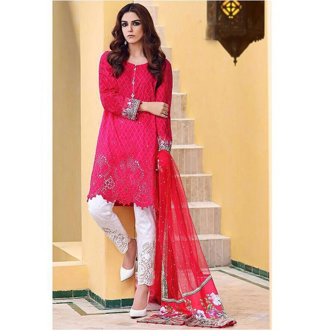 a4b2e70ca9 Red Colored Beautiful Embroidered Pakistani Salwar Suit Display Gallery  Item 1 ...