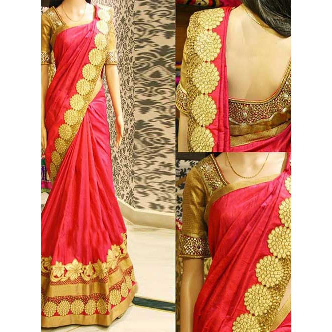 d242fc43ca144 Red Colored Beautiful Embroidered Paper Silk Saree Display Gallery Item 1  ...