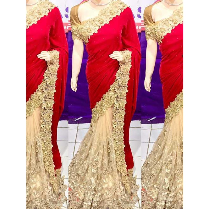 03c0080b3a33b Red Colored Beautiful Embroidered Velvet Heavy Saree Display Gallery Item 1  ...