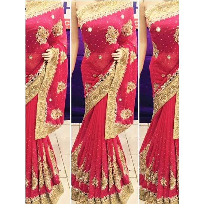 7bc248fdbf Red Colored Heavy Embroidered Georgette Saree With Beautiful Mirror-work  and Stonework Display Gallery Item 1
