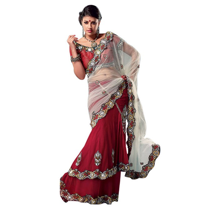 f255a300d1c5e Red Colored Heavy Stone Work and Embroidered Fancy Net Lehenga With satin  Inner
