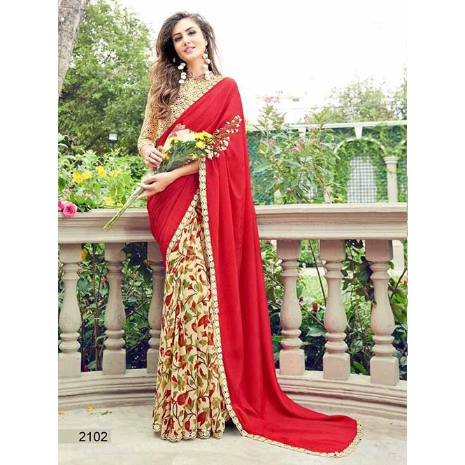 b2d90d06816 Red Colored chiffon and Faux Georgette Printed Saree With Beautiful Blouse  Display Gallery Item 1 ...