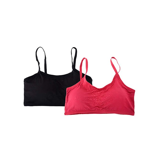 d35dc2a234 Six Strap Removable Padded Cotton Bra - Pack of 2 (Black   Grey ...
