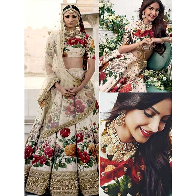 c51c7d4dab Sonam Kapoor Wedding Printed Banglory Silk Lehenga Choli | Shop Now