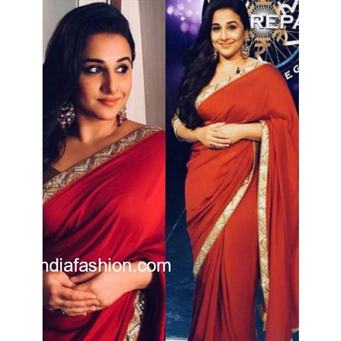 6dde699f0ea89c Vidhya Balan in Red Colored Beautiful Embroidered Georgette Saree