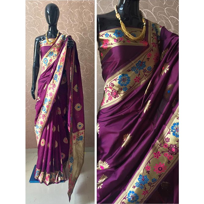 7b943f3a25 ... Violet Colored Banarasi Silk Meenakari Saree. Violet