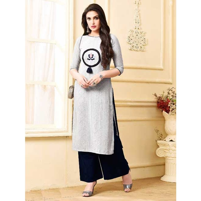Buy Now Women s Off White South Handloom Cotton Kurti With Palazzo ... 677a235f17