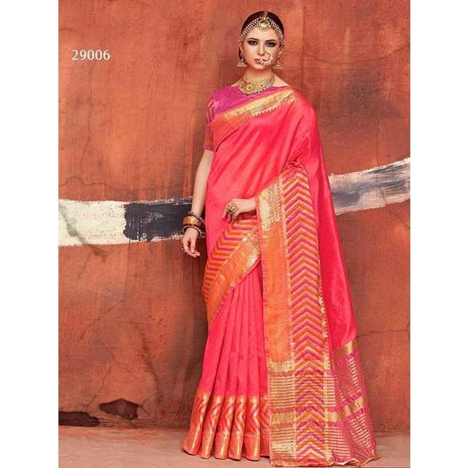 1e766605f149da Woven Art Silk Saree in Peach -Kundan Silk