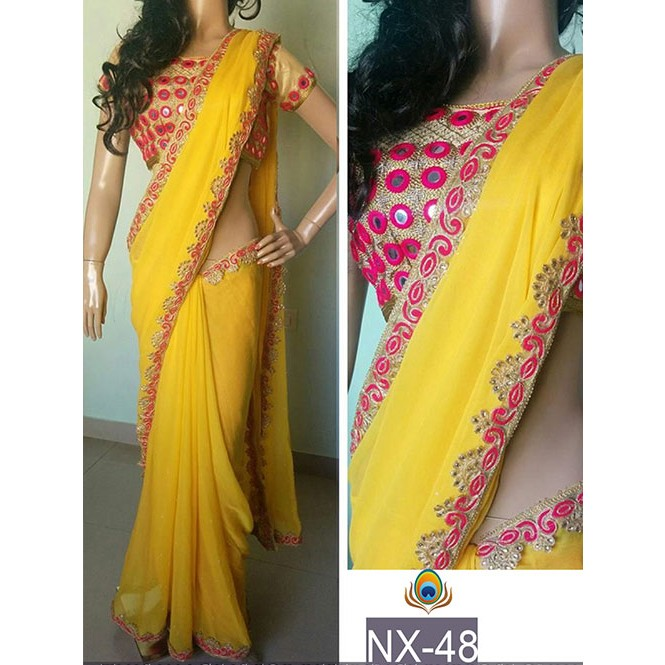 215b4e6057f84f Yellow Color Georgette Saree with eye-catching Mirror Work On border ...