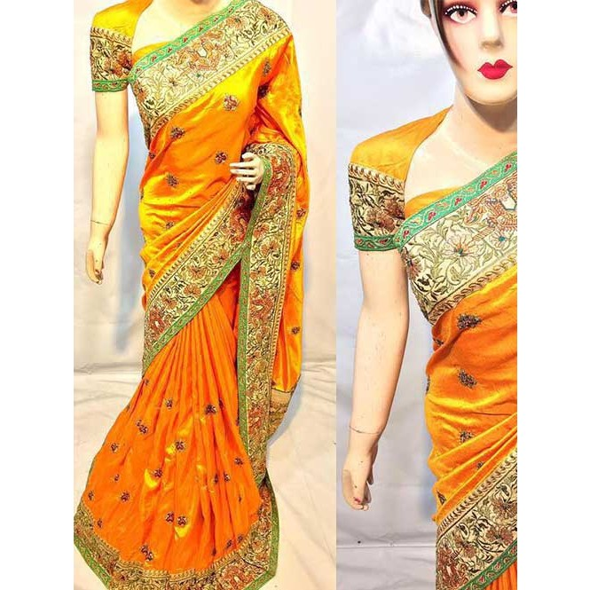 Yellow Colored Heavy Embroidered Silk Indian Traditional Wear Saree ...