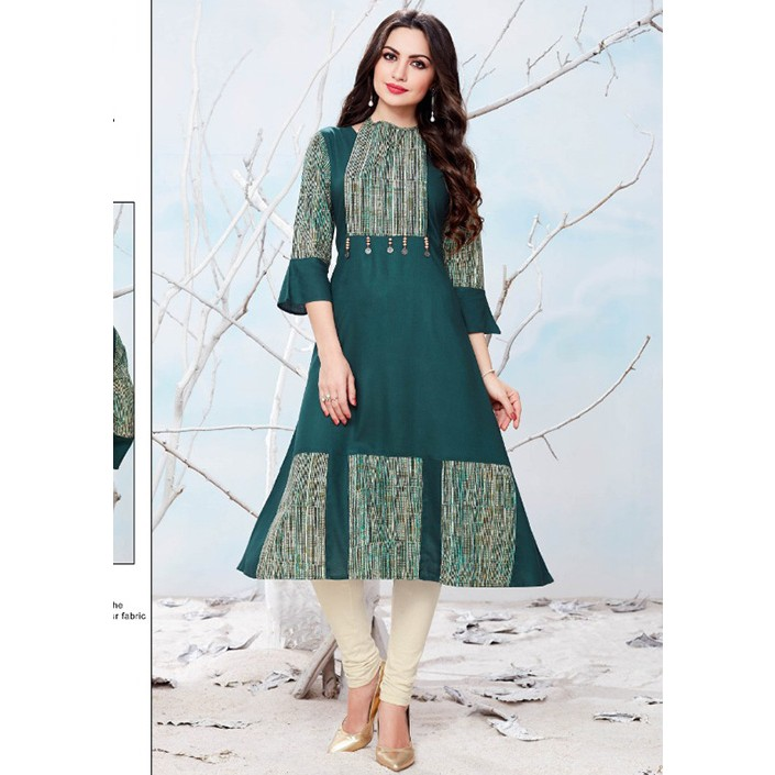 Sea Green Colored Beautiful Printed Rayon + Cotton A Line Kurti