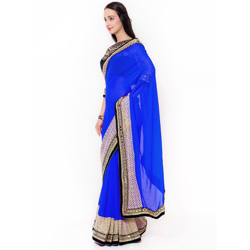 cca727440f84b Blue Color Beautiful Georgette Saree with velvet embroidered Blouse ...