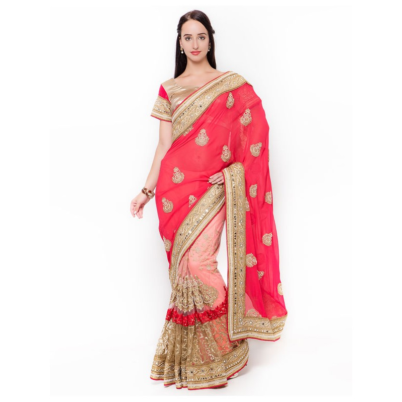 8ef75d53a1 ... net embroidered half and half Saree with silk Blouse Display Gallery  Item 1 ...