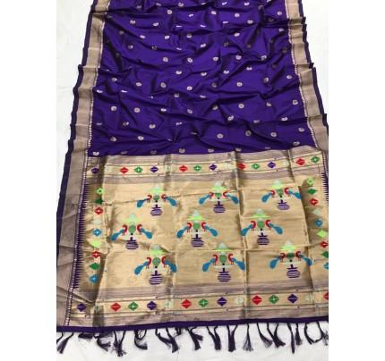 Appealing Blue Kanchipuram woven saree gnp0108382