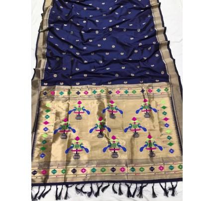 Appealing Blue Kanchipuram woven saree gnp0108383