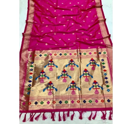 Appealing Pink Kanchipuram woven saree gnp0108386