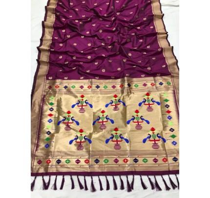 Appealing Purple Kanchipuram woven saree gnp0108384