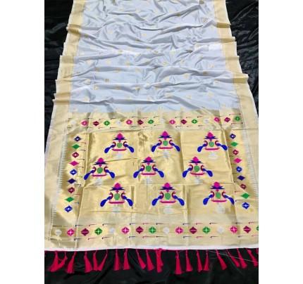 Appealing White Kanchipuram woven saree gnp0108388 - South indian sarees