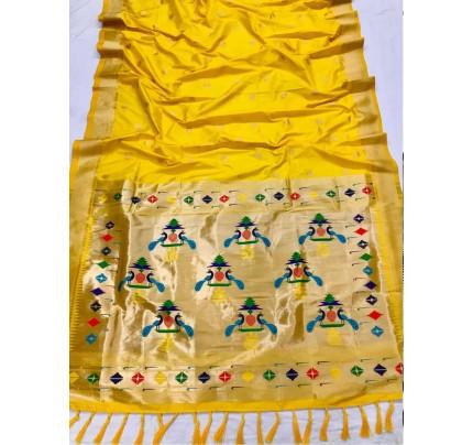 Appealing Yellow Kanchipuram woven saree gnp0108389 - South indian sarees