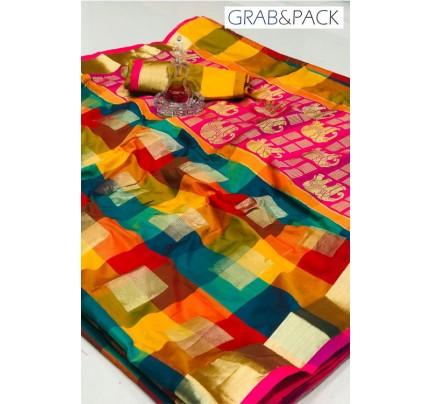 attractive multi coloured Banarasi golden zari weaving saree By GrabandPack gnp007624