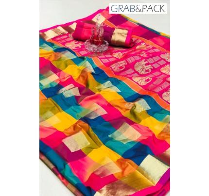 attractive multi coloured Banarasi golden zari weaving saree By GrabandPack gnp007625