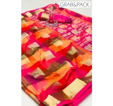 attractive multi coloured Banarasi golden zari weaving saree By GrabandPack gnp007626