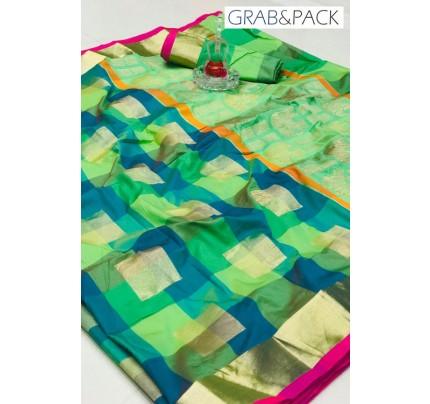 attractive multi coloured Banarasi golden zari weaving saree By GrabandPack gnp007627