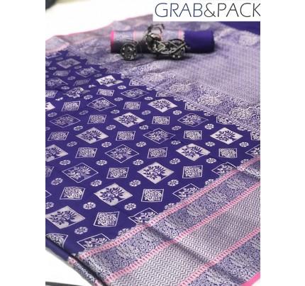 Jacquard woven saree in Blue gnp007595 - banarasi silk sarees online shopping