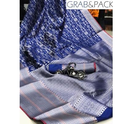 Jacquard woven saree in Blue gnp007589 - banarasi silk sarees online shopping
