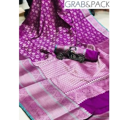 Jacquard woven saree in Purple gnp007591 - banarasi silk sarees online shopping