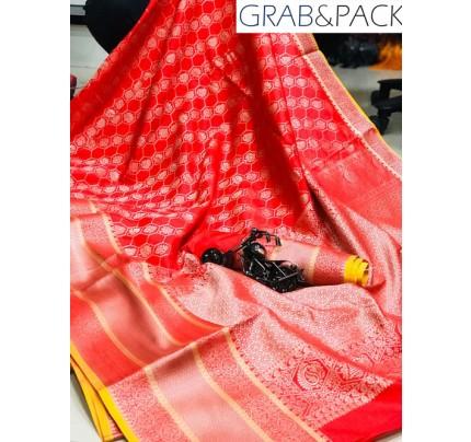Jacquard woven saree in Red gnp007592 - banarasi silk sarees online shopping