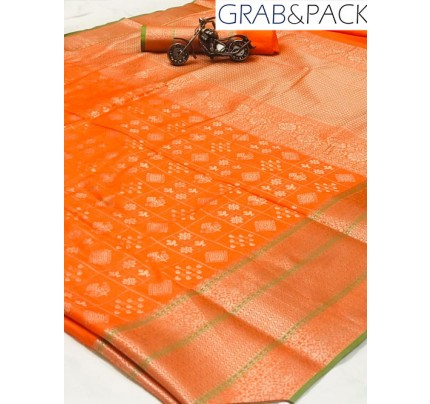 Jacquard woven saree in Orange gnp007600 - banarasi silk sarees online shopping