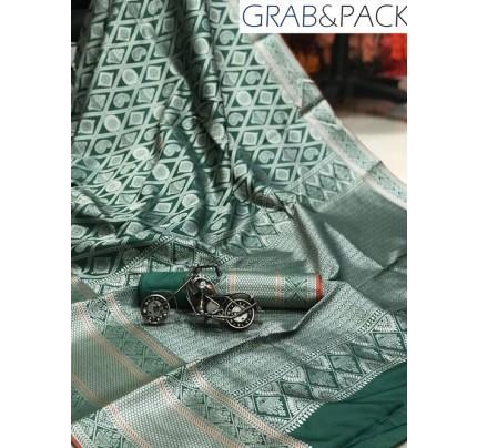 Jacquard woven saree in Green gnp007605 - banarasi silk sarees online shopping