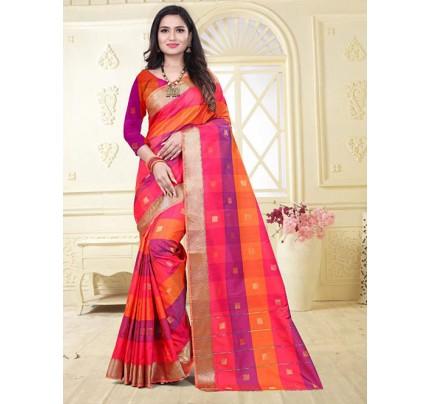 Banarasi Silk With Soft Texture Chex Style Saree - gnp008397