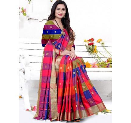 Banarasi Silk With Soft Texture Chex Style Saree - gnp008398