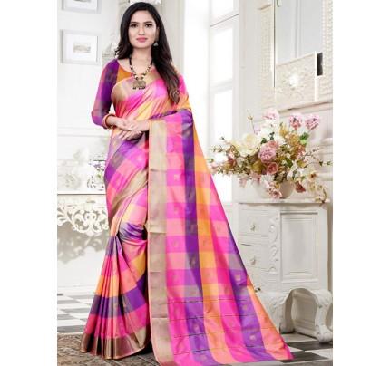 Banarasi Silk With Soft Texture Chex Style Saree - gnp008399