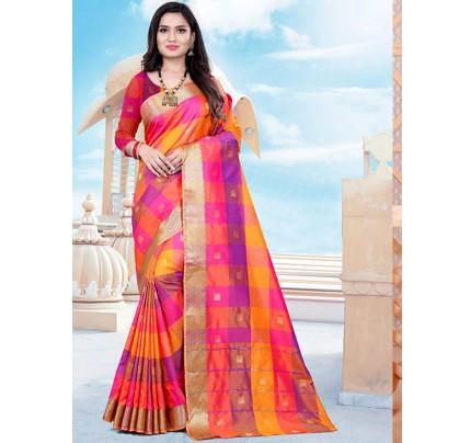 Banarasi Silk With Soft Texture Chex Style Saree - gnp008401