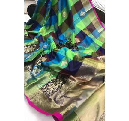 Banarasi Weaving Silk Handloom Chex Saree in Multi Color - gnp006312