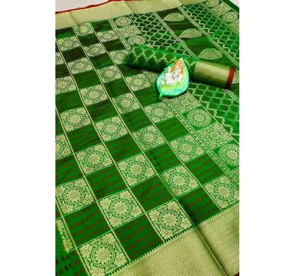 Banarasi Weaving Silk Handloom Patola Chex Saree in Green Color - gnp006315