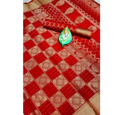 Banarasi Weaving Silk Handloom Patola Chex Saree in Red Color - gnp006317