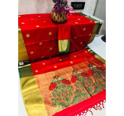 Beautiful Cotton Silk Saree With Heavy Embroidered Pallu in 15 Colors-Blood Red
