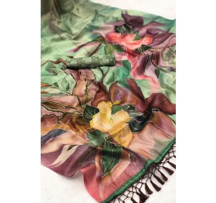 Beautiful Japanese Rainbow Silk Saree - gnp007818.