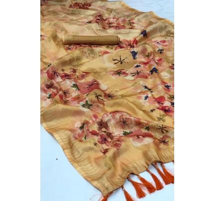 Beige Beautiful Japanese Rainbow Silk Saree - gnp006962