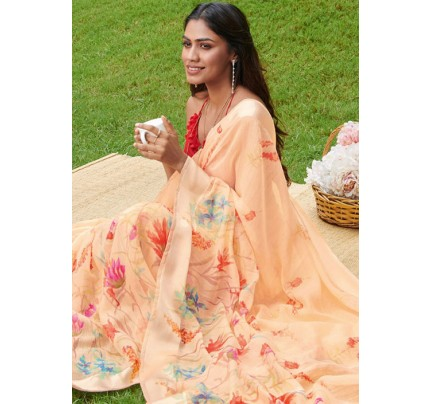Beige Colored Beautiful Linen Silk Floral Printed Saree Online