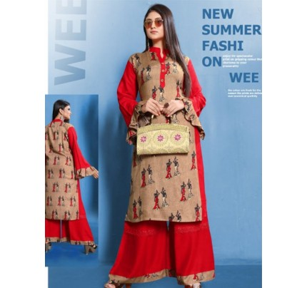 Beige Colored Beautiful Printed Straight Cut Rayon Kurti With Palazzo Set.