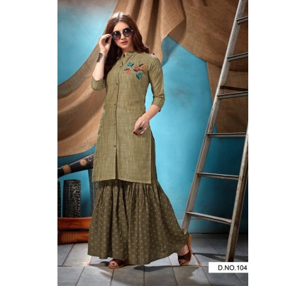 Beige Rayon Satin Embroidered Kurti with Sharara- gnp007007